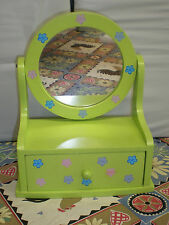 Wood Jewelry Box with Drawer & Attached Mirror - Green with blue & pink daises