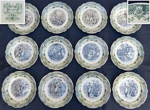 "Vintage French 12pc Cabinet Plate Set Napoleon Military Theme Sarreguemines 7.5"""
