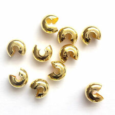 50 Gold Plated Findings 5mm Crimp Cover Beads