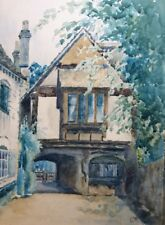 Antique Watercolour Painting Tudor House Signed C WINDSOR