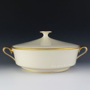 Lenox China ETERNAL Covered Round Vegetable Bowl Serving Dish Casserole Dimensn