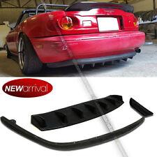 Fit 90-97 Miata Unpainted PU OE Style Rear Bumper Lip + Rear Diffuser Combo