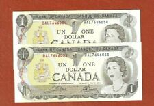 2 1973 Consecutive Serial Number One Dollar Bank Notes Gem Uncircuated G128