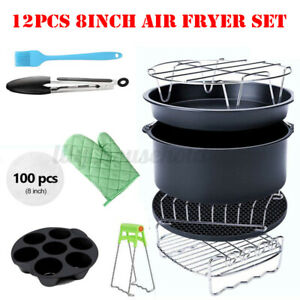 12PCS 8'' Air Fryer Accessories Rack Cake Pizza Oven Barbecue Frying Pan Tray
