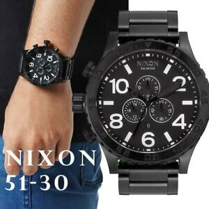 nixon 51-30 black men's chronograph watch