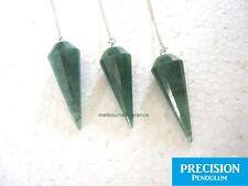 Solid Emerald Aventurine Gemstone 12-Faceted Precision Pendulum Chakra Healing