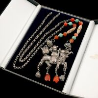 Antique Vintage Art Deco Sterling Silver Chinese Turquoise Kylin Rider Necklace
