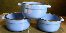 Vintage Set of (3) Cyrk Stoneware Double Handled Speckled Blue Bowls w/Black Rim