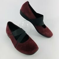 Clarks Haydn Juniper Wine Burgundy Suede Mary Janes Shoes Women's Size 8.5 M