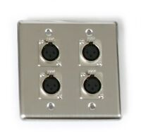 OSP Elite Core Stainless Steel Studio Audio Quad Wall Plate with (4) XLR Jacks