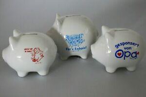 10 x Keramik Spardosen Sparschweinchen mit versch. Drucken Restposten B2B