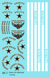 K4 G 1:24 Decals Police Car Markings Gold, Silver Black and White