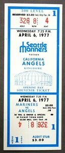 1977 SEATTLE MARINERS very first game FULL ticket vs CALIFORNIA ANGELS baseball
