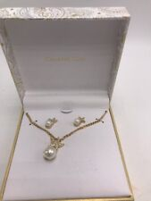 $28 Macy's Charter club 2 pc faux pearl starfish necklace & sud earrings gold SB