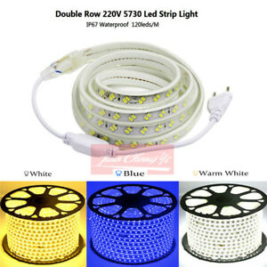 IP67 LED strip 220V 5730 120LED/M Double row Flexible Lamp with EU Plug white