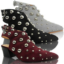 NEW WOMENS LADIES LOW HEEL BLOCK BUCKLE POINTED TOE STUDDED BEADS SHOES SIZE