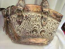 Patricia Nash Burnished Tooled Natural White Leather Zorita Satchel Bag $269