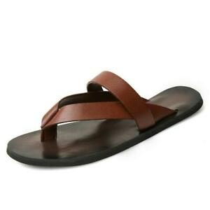 Summer Fashion Mens Beach Outdoor Leather Sandals Strap Shoes Anti-slip Slippers