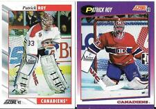 PATRICK ROY; TWO DIFFERENT HOCKEY  CARDS