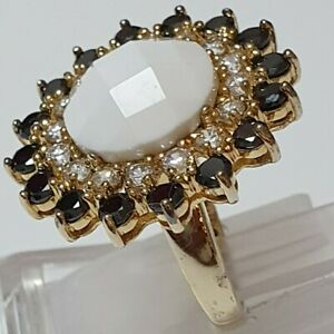 An Exquisite Ladies 925 (stamped) Sterling Silver 14k gold plated ring