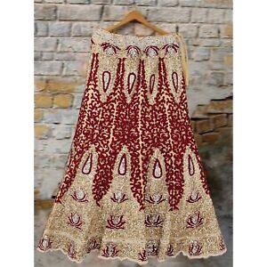 Sanskriti Vintage Golden Long Skirt Net Mesh Hand Beaded Ethnic Stitched Lehenga