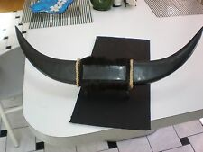 """VINTAGE  MOUNTED COW HORNS WITH PONY HAIR CENTER 23 """" LONG BLACK READY FOR MOUNT"""