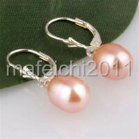BEAUTIFUL! 8x10MM Pink Akoya Cultured Pearl Earring Silver Hook