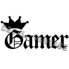 Gamer Crown Vinyl Sticker Decal Video Gamer RPG Table Top - Choose Size & Color