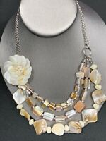 """Necklace Bohemian Mother Of Pearl Flower Blister Pearl 3 Strand Necklace 18"""""""