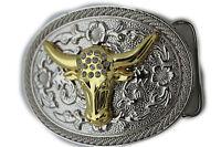 New Men Women Western Cowboy Metal Buckle Silver Gold Bull Small Horns Shiny