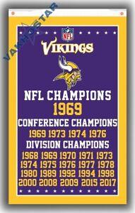 Minnesota Vikings Champions Memorable Flag 90x150cm3x5ft Fan Apparel best banner