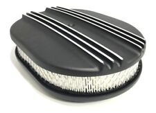"""12"""" Oval Half Finned Air Cleaner - Black Aluminum for Classic Chevy Ford"""