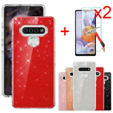 For LG Stylo 6/K51/Reflect Case Bling Glitter Phone Cover Glass Screen Protector