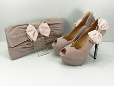 Nude Shoes and Matching Bag Bow Faux Suede Peep Toe Sweetheart Shoes 5.5'' Heel