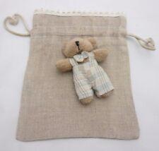 petit sac déco en coton façon toile de jute avec un ours 16,5 x 13,5 cm