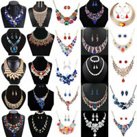 Fashion Necklace Earrings Crystal Pendant Bib Choker Chain Statement Jewelry