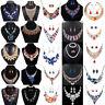 Fashion Necklace Earrings Crystal Pendant Bib Choker Chain Statement Jewelry