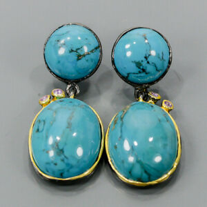Vintage SET Turquoise Earrings Silver 925 Sterling   /E58114