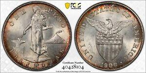 1908 U.S. Philippines Silver Peso PCGS MS-62 Lustrous Choice BU!