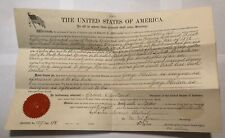 Re Maryland War of 1812 veteran land grant certificate document Pres Cleveland