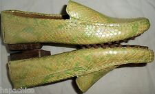 ESCADA Vintage Shoes Leather Croc Alligator Green 37 7 HapaChico Haute Couture
