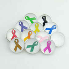 20pcs Mix Cancer Breast Awareness Color Ribbon Snaps Chunk Charm Button Jewelry