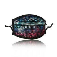 Ladies Blue Aztec Cotton Face Mask Washable Reusable Adjustable Double Layer