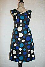 Hobbs Negro Azul Blanco De Lunares Vestido Lápiz de Té de parte de verano para mujer Talla 14