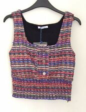 Zara trf Blue, Red and Ivory Boucle Scoop Neck Top, Size M UK 10 New