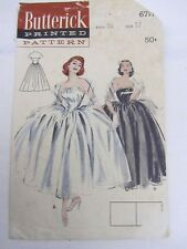 Vintage 1950's Sewing Pattern * Party Ballroom Fashion Dress Butterick 6717