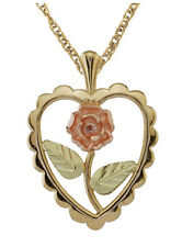 Black Hills 10K Gold Heart And Flower Ladies Pendant Necklace