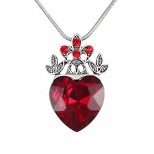 Valentine's Day Descendants Red Heart Crown Pendant Necklace Queen Jewellery New