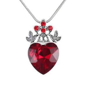 Valentine's Day Red Heart Crown Pendant Necklace Queen Jewellery New