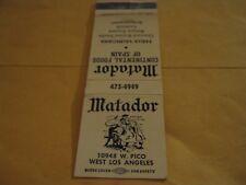 Vtg Matador Continental Foods of Spain Paella Valenciana W Los Angeles Matchbook